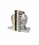 Visage Iron Bookends | Silver Leaf