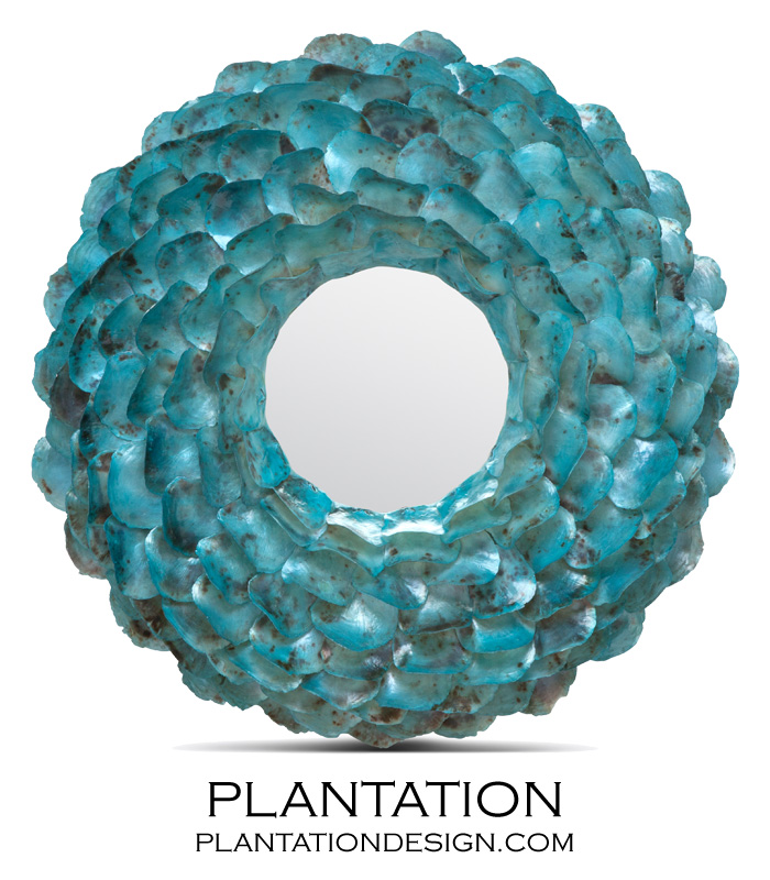 Wavy Shell Mirror Turquoise Oyster Plantation
