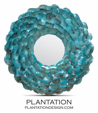 Wavy Shell Mirror   Turquoise Oyster