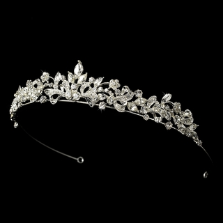 """All That Jazz"" Floral Rhinestone Tiara"