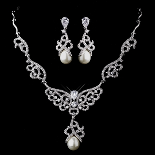"""Angelica"" Pearl and CZ Crystal Necklace and Earrings Set"