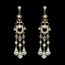 """At Last"" Swarovski Crystal Chandelier Earrings (Gold)"