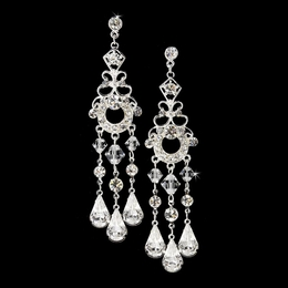 """At Last"" Swarovski Crystal Chandelier Earrings (Silver)"