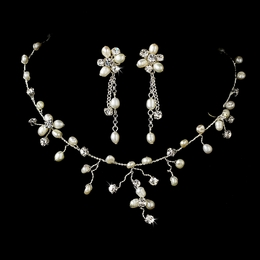 """Beach Party"" Freshwater Pearl and Rhinestone Necklace and Earrings Set"