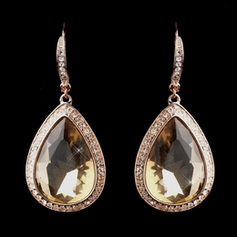 """Believe"" Crystal Gemstone Hook Earrings (Topaz on Rose Gold)"