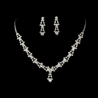 """Belle of the Ball"" Rhinestone Necklace and Earrings Set (Silver)"