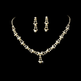 """Belle of the Ball"" Rhinestone Necklace and Earrings Set (Gold w/Ivory Pearls)"