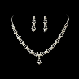 """Belle of the Ball"" Rhinestone Necklace and Earrings Set (Silver w/White Pearls)"
