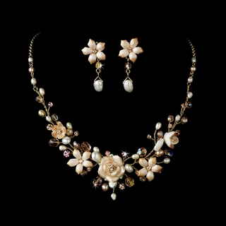 """Blushing Bride"" Pink Porcelain Necklace and Earrings Set (Choice of Gold or Silver)"