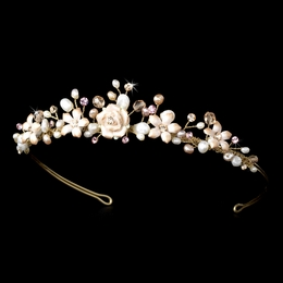 """Blushing Bride"" Pink Porcelain, Pearl, and Rhinestone Tiara (Gold-plated)"