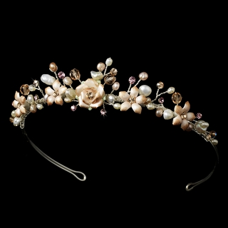 """Blushing Bride"" Pink Porcelain, Pearl, and Rhinestone Tiara (Silver-plated)"