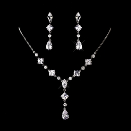 """Bridal Bliss"" Cubic Zirconia (CZ) Necklace and Earrings Set"