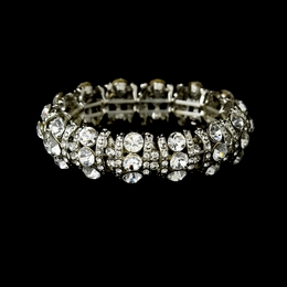 """Cabaret"" Crystal Stretch Bracelet (Clear on Silver)"