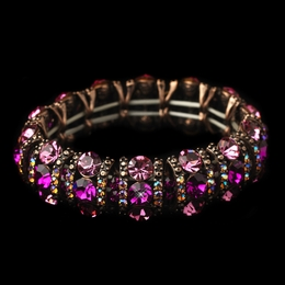 """Cabaret"" Crystal Stretch Bracelet (Fuchsia on Copper)"