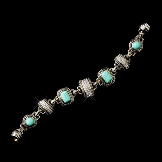 """Caribbean Princess"" Silver/Aqua Bracelet with Gold Trim"