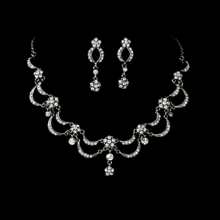"""Celebration"" Vintage-style Necklace and Earrings Set (Clear on Antique Silver)"