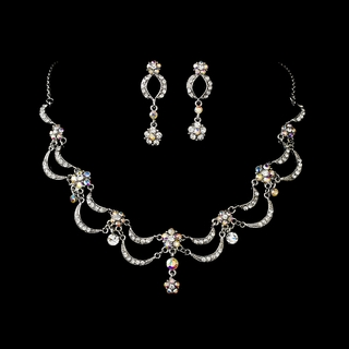 """Celebration"" Vintage-style Necklace and Earrings Set (AB-Reflective on Antique Silver)"