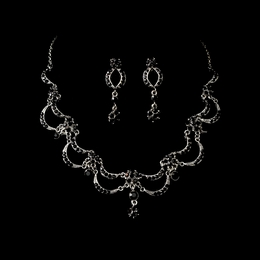 """Celebration"" Vintage-style Necklace and Earrings Set (Black on Antique Silver)"