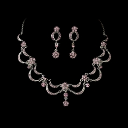 """Celebration"" Vintage-style Necklace and Earrings Set (Light Amethyst on Antique Silver)"