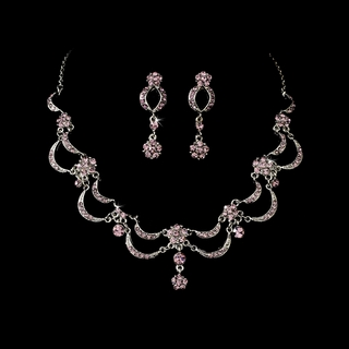 """""""Celebration"""" Vintage-style Necklace and Earrings Set (Light Amethyst on Antique Silver)"""