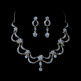 """Celebration"" Vintage-style Necklace and Earrings Set (Light Blue on Antique Silver)"