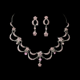 """Celebration"" Vintage-style Necklace and Earrings Set (Pink on Antique Silver)"