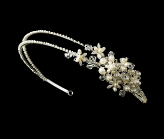 """Charisma"" Side Accented Floral Headband (Ivory on Silver)"