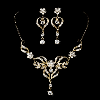 """Come Fly With Me"" Rhinestone Necklace and Earrings Set (Gold)"