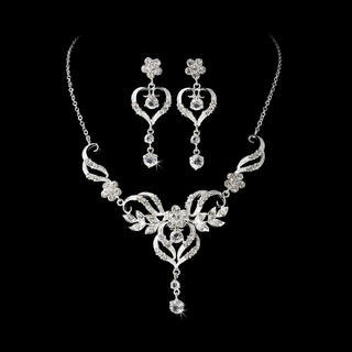 """""""Come Fly With Me"""" Rhinestone Necklace and Earrings Set (Silver)"""
