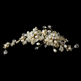 """Crystal Opulence"" Swarovski Crystal and Freshwater Pearl Hair Comb (Gold)"