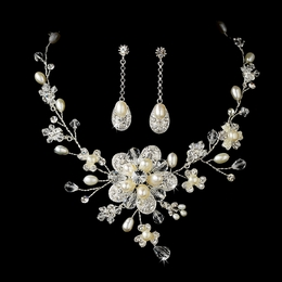 """Crystal Opulence"" Swarovski Crystal and Freshwater Pearl Necklace and Earrings Set"