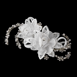 """Dancing Cheek to Cheek"" Pearl and Rhinestone Floral Hair Comb (White)"