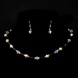 """Delightful"" Necklace and Earrings Set (Cream & AB-Reflective on Silver)"