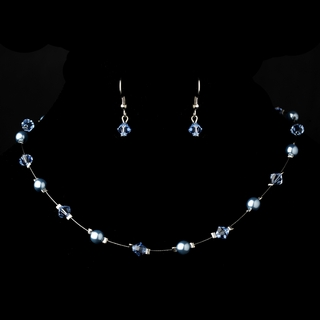 """Delightful"" Necklace and Earrings Set (Light Blue on Silver)"