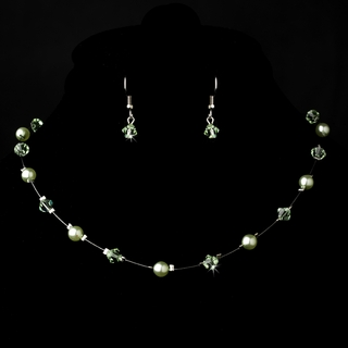 """Delightful"" Necklace and Earrings Set (Mint Green on Silver)"