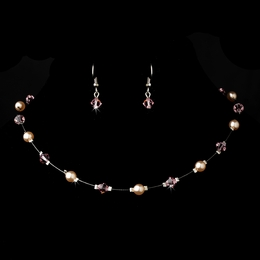 """Delightful"" Necklace and Earrings Set (Pink on Silver)"