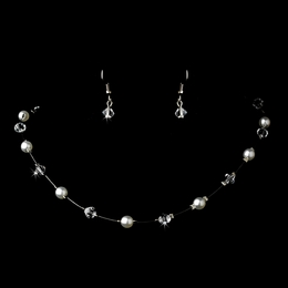 """Delightful"" Necklace and Earrings Set (White on Silver)"