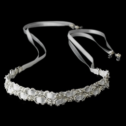 """Dream Weaver"" Rhinestone and Pearl Satin Ribbon Headband (White or Ivory)"