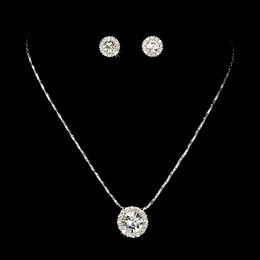 """Dulce"" Rhinestone Necklace and Earrings Set (Clear on Silver)"