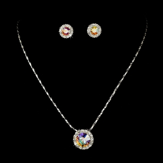 """Dulce"" Rhinestone Necklace and Earrings Set (AB-Reflective on Silver)"
