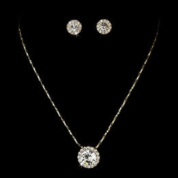 """Dulce"" Rhinestone Necklace and Earrings Set (Clear on Gold)"
