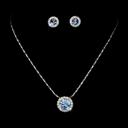 """Dulce"" Rhinestone Necklace and Earrings Set (Light Blue on Silver)"