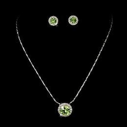 """Dulce"" Rhinestone Necklace and Earrings Set (Peridot Green on Silver)"