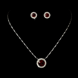 """Dulce"" Rhinestone Necklace and Earrings Set (Red on Silver)"