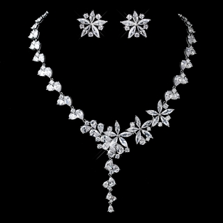 """Edelweiss"" Silver Cubic Zirconia (CZ) Necklace and Earrings Set"