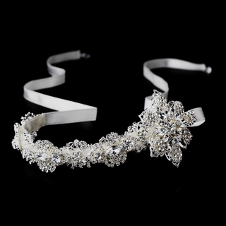 """Elegance"" Satin Ribbon Silver Headpiece (White or Ivory)"