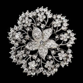 """Elegant Beauty"" Antique Silver Floral Rhinestone Brooch"