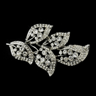 """Enchanted Forest"" Antique Silver Rhinestone Leaf Brooch"