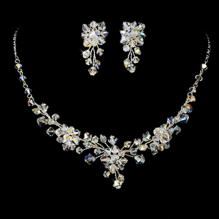 """Evening Star"" Swarovski Crystal Necklace and Earrings Set (AB-Reflective on Silver)"