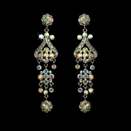 """Fancy That"" Vintage-style Chandelier Earrings (AB-Reflective on Silver)"